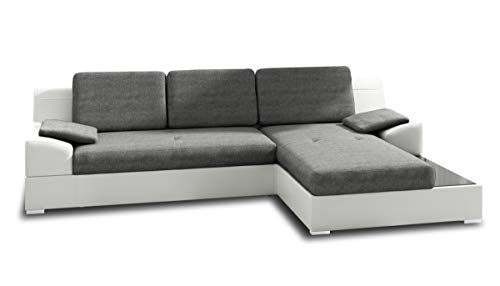 Ecksofa Aldo mit Glasregal Couchgarnitur mit Bettfunktion und Bettkasten Sofagarnitur - Ecksofa Aldo mit Glasregal, Couchgarnitur mit Bettfunktion und Bettkasten, Sofagarnitur, Couch mit Schlaffunktion, Big Sofa (Weiß + Grau (Soft 017 + Inari 91), Ecksofa Rechts)