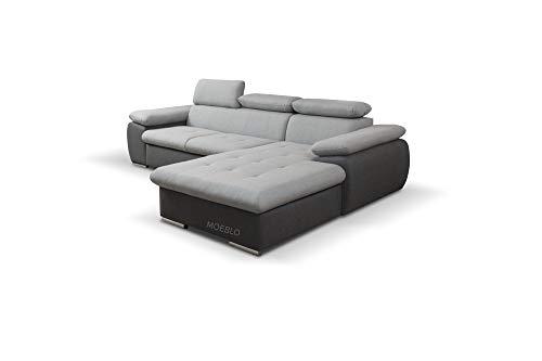 mb-moebel Ecksofa mit Schlaffunktion Eckcouch mit Bettkasten Sofa Couch L-Form Polsterecke NILUX (Hellgrau+ Dunkelgrau, Ecksofa Rechts)