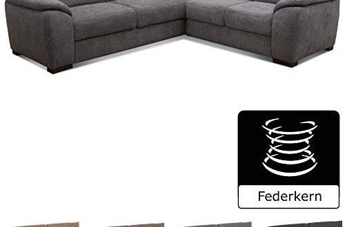 Cavadore Eck Sofa Moontegoo Wohnzimmer Couch mit Federkern 256 x 500x330 - Cavadore Eck-Sofa Moontegoo / Wohnzimmer-Couch mit Federkern / 256 x 88 x 227 cm (BxHxT) / Flachgewebe grau